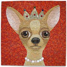Donna Van Hooser.  Chihuahua.  http://mosaicsupply.com/pages/Donna-Van-Hooser-Mosaic-Artist-Sundog-Mosaics-.html