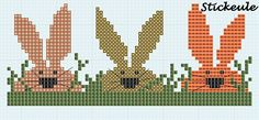 Pasqua - Pâques - Easter rabbits, cross stitch chart