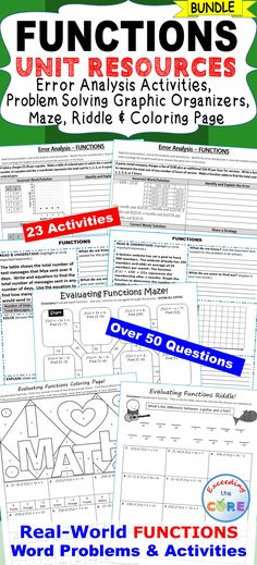 FUNCTIONS BUNDLE - Error Analysis, Graphic Organizers, Maze, Riddle, Coloring Activity Includes 10 error analysis activities and 10 problem solving graphic organizers, 1 maze, 1 riddle, 1 coloring activity (over 50 questions). Perfect for math homework, math assessments and math stations. Topics: ✔ Tables, Graphs & Equations ✔ Functions ✔ Analyze & Compare Functions ✔ Linear and Nonlinear Functions ✔ Quadratic Functions 8th Grade Math Common Core 8.F.1, 8.F.2, 8.F.3, 8.F.4, 8. F.5