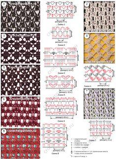 Ажурные и сетчатые мотивы со схемами и обозначениями для вязания крючком. Страница 127.