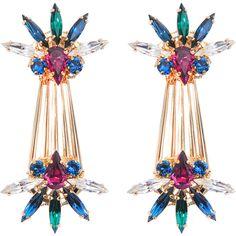 Anton Heunis Palm Leaf Drop earrings ($195) ❤ liked on Polyvore featuring jewelry, earrings, swarovski crystal drop earrings, palm tree earrings, metal jewelry, swarovski crystal earrings and multicolor earrings