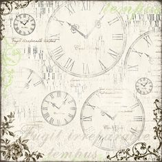 Such a Pretty Mess: Shabby-Chic Mixed Media Canvas & Tutorial {Shimmerz Paints, Maja Design, Dusty Attic} Scrapbook Background, Background Vintage, Paper Background, Scrapbook Paper, Vintage Scrapbook, Vintage Cards, Vintage Paper, Vintage Clocks, Antique Clocks