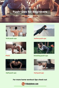 Can't you make push-ups correctly? Learn push-up exercises for beginners that progress the muscles to perform the move successfully. Workout Routines For Beginners, Fun Workouts, At Home Workouts, Push Up Beginner, Push Up Form, Convict Conditioning, Wall Push Ups, Push Up Workout, Workout Guide