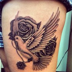 Dove and roses for my gramma. Thigh tattoo.