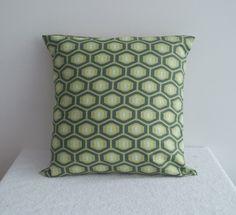 Housse de coussin 40x40 Motif graphique rétro vert et turquoise : Textiles et tapis par pik-et-pan