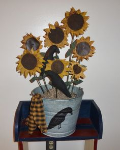 Bucket of Fabric Sunflowers and Crows Primitive Stitchery, Primitive Fall, Primitive Crafts, Country Primitive, Americana Crafts, Country Crafts, Country Decor, Fabric Flowers, Paper Flowers