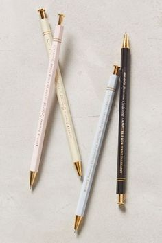 Ordonee Pen, pastels, blush, yellow, powder blue, black, gold, office supplies