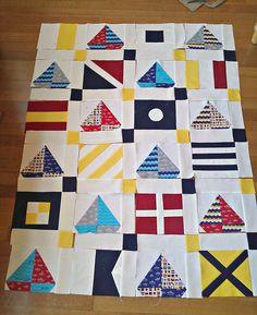sailboat flag quilt top