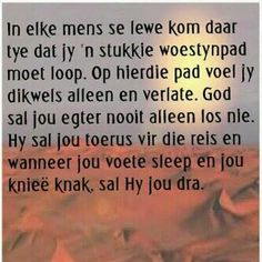 God sal jou nooit alleen los nie.. Inspiration For The Day, Christian Inspiration, Special Words, Good Morning Wishes, Afrikaans, True Words, Positive Quotes, Things To Think About, Meant To Be