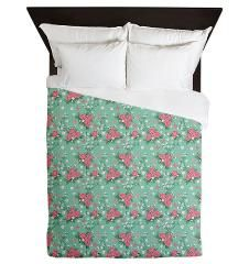 Vintage Roses and Butterflies Pattern Designer Duvet Cover #homedecor #bedroom #bedding #custom #personalized #vintage #floral #flowers #shabbychic