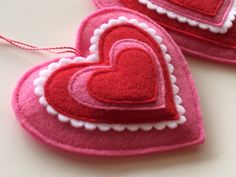 Set of 3 Felt Heart Ornaments-Felt Ornaments-Pink and Red Valentines Art, Valentines Day Hearts, Be My Valentine, Felt Christmas Ornaments, Noel Christmas, Heart Ornament, Ornament Crafts, Heart Decorations, Valentines Day Decorations