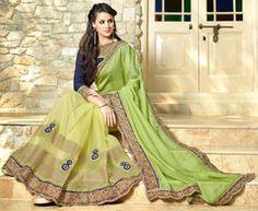 Green Color Half Net & Half Jacquard Chiffon Designer Party Wear Sarees : Namanshi Collection  YF-42744
