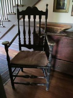 Bannister back arm chair.