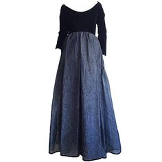 Vintage and Designer Evening Dresses and Gowns - For Sale at Vintage Evening Gowns, Long Sleeve Evening Gowns, Vintage Gowns, Vintage Outfits, Dress Vintage, Vintage Fashion, Long Sleeve Velvet Gown, Long Sleeve Gown, Velvet Evening Gown