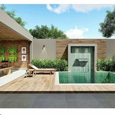 Designed by Higor Zanelato Architect. Small Backyard Pools, Backyard Pool Designs, Swimming Pools Backyard, Swimming Pool Designs, Backyard Patio, Small Pools, Home Garden Design, Patio Design, Exterior Design
