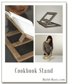 Build a DIY Cookbook Stand - Building Plans and Instructions by Cook Book Stand, Book Stands, Kitchen Island With Seating, Diy Kitchen Island, Kitchen Cabinets, Kitchen Island Building Plans, Diy Drawer Organizer, Woodworking Books, Woodworking Logo