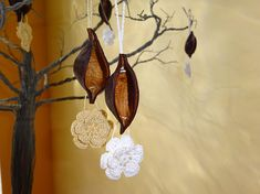 Rustic Hanging Ornament, Wedding Decor, Wooden Ormanetns, Gifts for the Home, Elegant Decor, Handmade Home Decor, Earthly Deco, Stylish Gift Knitted Flowers, Flower Crochet, Mercerized Cotton Yarn, Romantic Wedding Decor, Housewarming Present, Crochet Ornaments, Valentines Gifts For Her, Hanging Ornaments, Handmade Home Decor