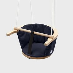 Dark Blue Baby Swing with white rope and aluminum details — La Clinica Design