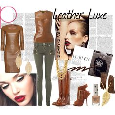 Brown leather and gold  #fashion