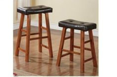"""Set of 2 24""""h Bar Stool in Walnut Wood with Brown Leather Cusion by HP. $85.99"""