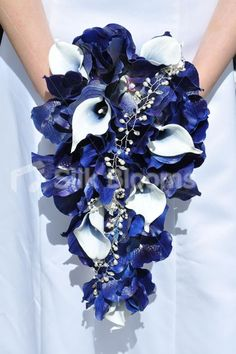 Midnight Blue Orchid Picasso Lily Teardrop Bridal Bouquet