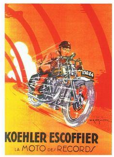 Koheler Scoffier Bike Poster, Motorcycle Posters, Motorcycle Art, Bike Art, Vintage Advertisements, Vintage Ads, Vintage Posters, Vintage Signs, Motos Trial