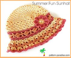 This is a cheery sunhat with lacy, textured stitches and a peek-a-boo band. I designed this for fingering weight yarn, but have been successful with light sport/DK weights as well (may require a little adjustment on the hook).