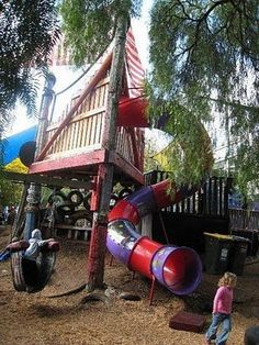 snaking slide & tire swing & climbing wall