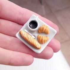 AIMANT Café Croissants - Miniatures gourmandes Fimo - Fimo et céramique