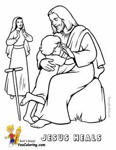 Jesus Heals Lame Boy Coloring Page at YesColoring http://www.yescoloring.com/jesus-coloring.html