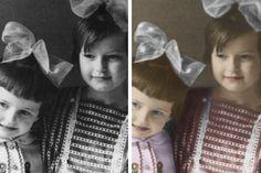 Реставрация старого портретного снимка. Оцветнение. Удаление трещин и потёртостей на фотографии.