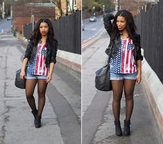 Shirley B. Eniang - Republic Tee, Levi's® Shorts, H&M Jacket, H&M Bag, New Look Boots - Americana