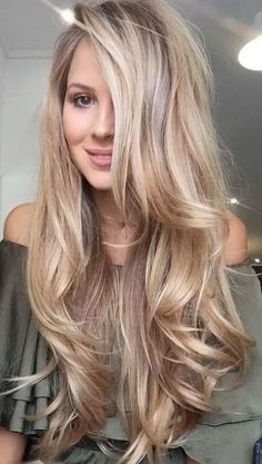 Blonde Hair Shades, Blonde Hair Looks, Blonde Hair With Highlights, Balayage Hair Blonde, Brown Blonde Hair, Platinum Blonde Hair, Long Blonde Curly Hair, Blonde Wig, Long Long Hair