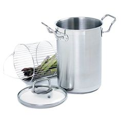 Stainless steel steamer with tempered glass lid. Product: SteamerConstruction Material: Stainless steel and glassColor: SilverFeatures: Includes stockpot, steamer basket and lidDimensions: 12 H x W x 7 DCleaning and Care: Hand wash recommended Electric Food Steamer, Microwave Steamer, Stainless Steel Pot, Loft Kitchen, Steamer Recipes, Ears Of Corn, Joss And Main