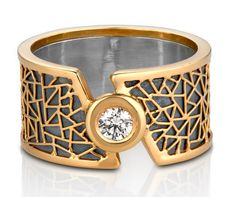 Ring in 18k yellow gold and sterling silver with 0.15 ct. diamond, $2,500; Baiyang Qiu