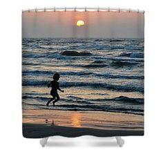 Jumping For Joy Shower Curtain by Debra Martz  #seashore #gulfcoast #coastal #sunrise