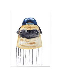 New York Pug A3 Print  Designed by Jolly Awesome
