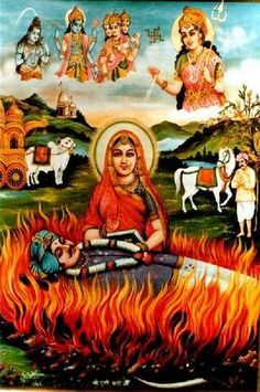 This image depicts the ancient Hindu religious practice called Sati. The practice requires widowed Hindu women to burn to death on their husbands funeral pry. Although this practice has been made illegal, there are still instances that take place in certain communities in India. Women can either do so voluntarily or by the use of force. This image depicts the manner in which religion can reinforce oppression.