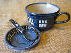MADE TO ORDER Police Box Tea Cup Pottery Soup by DragonflyArts
