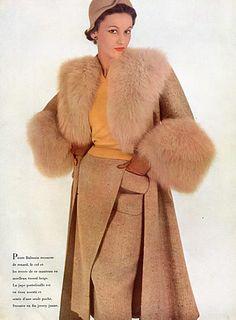 Pierre Balmain 1950 Winter Coat, Fashion Photography  #TuscanyAgriturismoGiratola