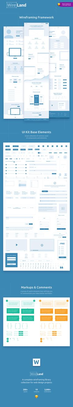 Wireland – is a Complete Wireframing Library Collection optimized to structure web design projects really fast and easy while getting great results. This library consist on 200+ ready-to-use layout sections divided into 19 popular content categories.  Excellent for Landing Pages, and any kind of Web design Projects.   Include layouts on: Testimonials, Ecommerce, Blog, Slider, Portfolio, Header, Price Table, Features, Benefits, How it works, Footer, FAQ, News, Metrics and Contact.