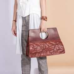 Genuine Leather Tote Handmade Shoulder Bag Handbag Crossbody Bag Purse Clutch For Women