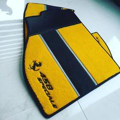 ferrari 458 black grey and yellow interior floor mats