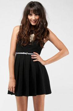 Fit and Flare Pleated Dress in Black $46 at www.tobi.com