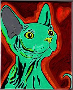 Sphynx Cat Custom Painting by vintagequeen on Etsy