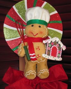 Christmas Tree Topper Candy Gingerbread Man by Christmastreetops, $70.00