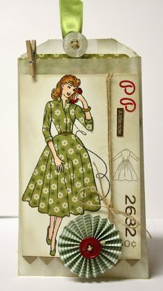 Vintage girl tag by Sassy Stampin'