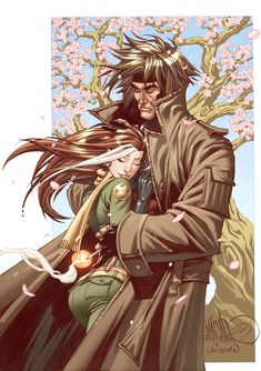 Gambit and Rogue. This is exactly what their relationship is about....leaning on each other when they need it it the most<3