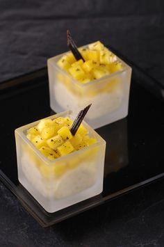 Lenôtre - Riz au lait à la vanille, mangue pochée à la vanille http://www.lenotre.com/media/pdf/Recette_riz_au_lait_vanille_mangue.jpg