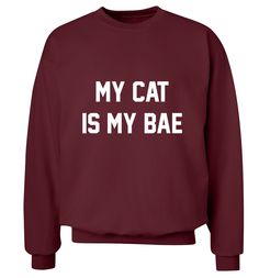 New to FloxCreative on Etsy: My cat is my bae jumper funny joke slogan pet animal lover valentine boyfriend love heart grey black maroon sweatshirt pullover XS - 3XL 13 (22.95 GBP)